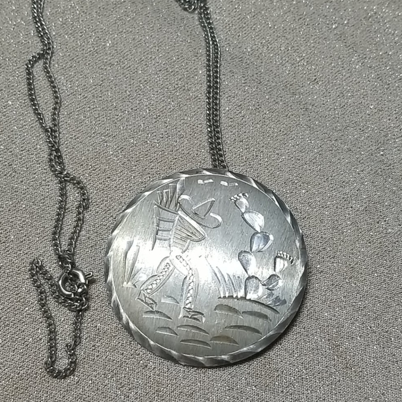 Sterling Silver Mexico Pendant Brooch Vintage